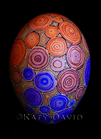 Friday Egg: Under, Purple and Red, Goose Egg Pysanky ©Katy David