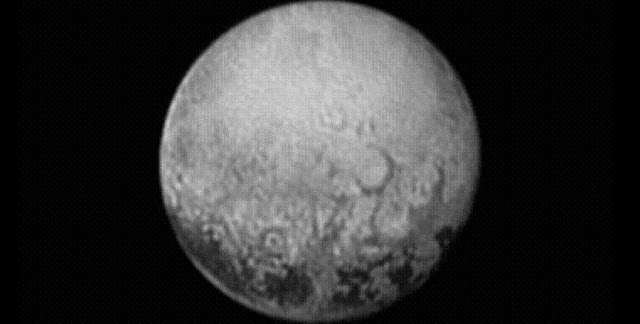 New Horizons' last look at Pluto's Charon-facing hemisphere reveals intriguing geologic details that are of keen interest to mission scientists. This image, taken early the morning of July 11, 2015, shows newly-resolved linear features above the equatorial region that intersect, suggestive of polygonal shapes. This image was captured when the spacecraft was 2.5 million miles (4 million kilometers) from Pluto.   Credit: NASA/Johns Hopkins University Applied Physics Laboratory/Southwest Research Institute