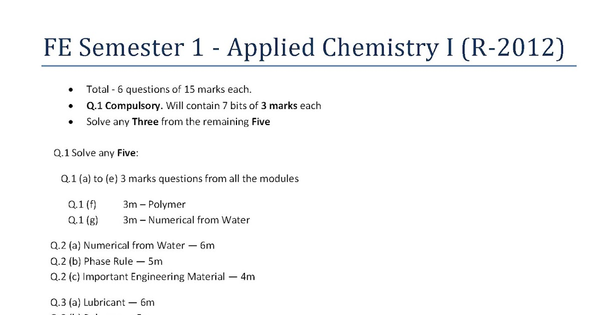 Engineeringlovesme chemistry previous years question papers and engineeringlovesme chemistry previous years question papers and blue print mu fe sem 1 malvernweather Gallery