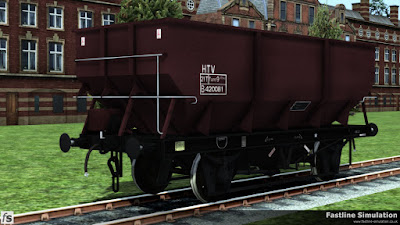 Fastline Simulation: An example of a rebodied dia. 1/146 hopper painted in maroon livery with black under frame and running gear.