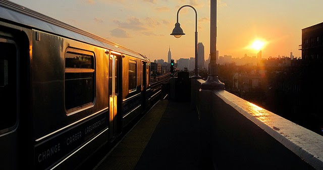 city train at sunset
