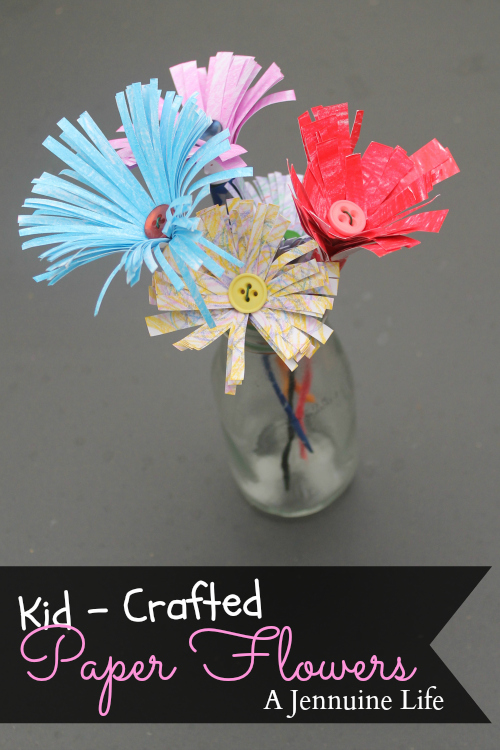 Kid crafted paper flowers the girl creative this month im not sharing a project ive made gasp instead my daughters okay i helped a little created these bright and fun paper flowers mightylinksfo