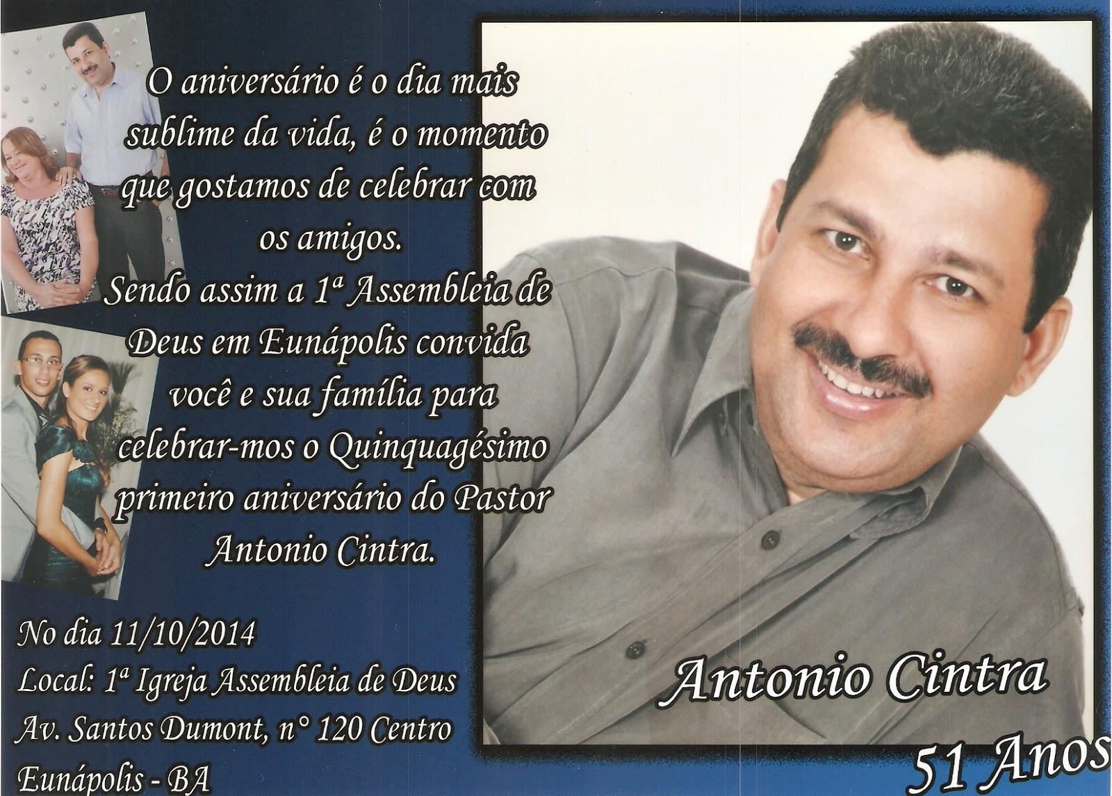 Convite Culto De Ação De Graças Pelo Aniversario Do Pastor Antônio