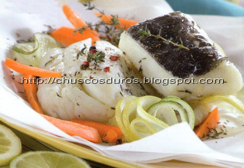 Chuscos duros filetes de bacalao desalado en papillote - Cocinar bacalao desalado ...