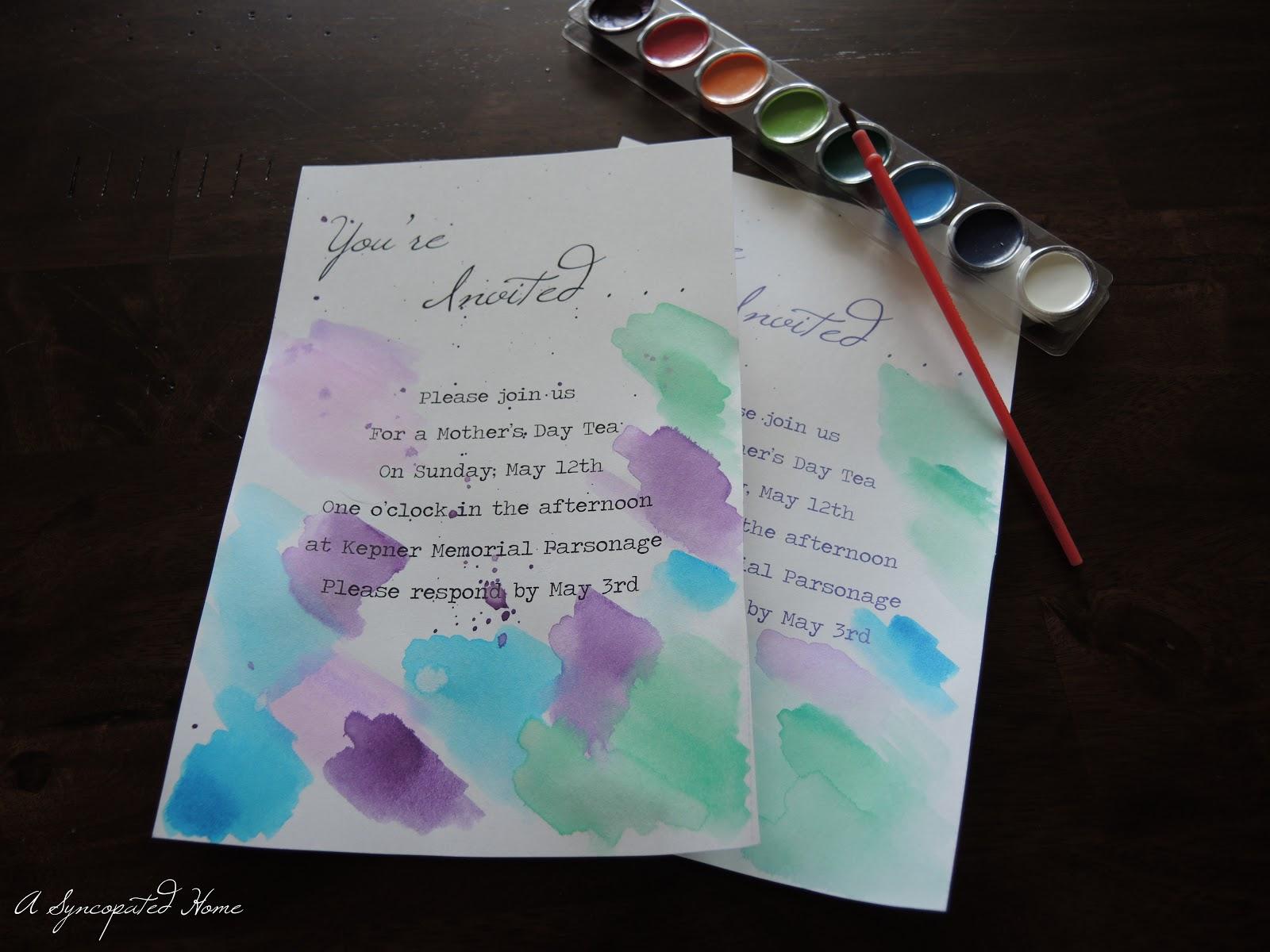 A Syncopated Home Watercolor Crush Watercolor Invitations