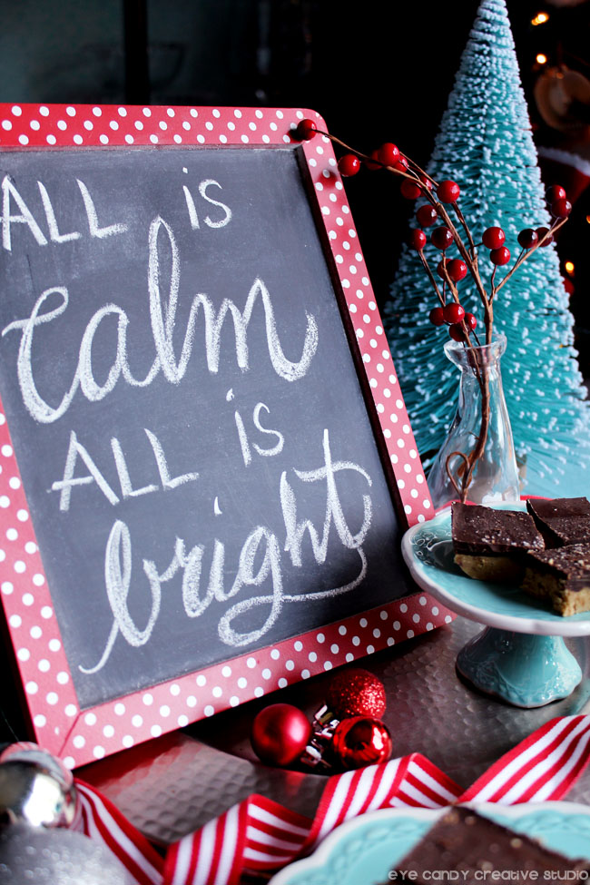 all is calm all is bright chakbard art, hand lettering, christmas tree