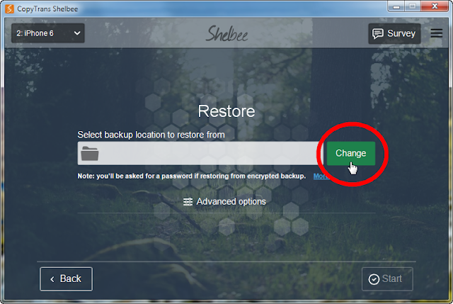 click change button to select backup