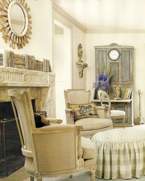 Distressed woodwork, subdued hues and ruffles are all common in French