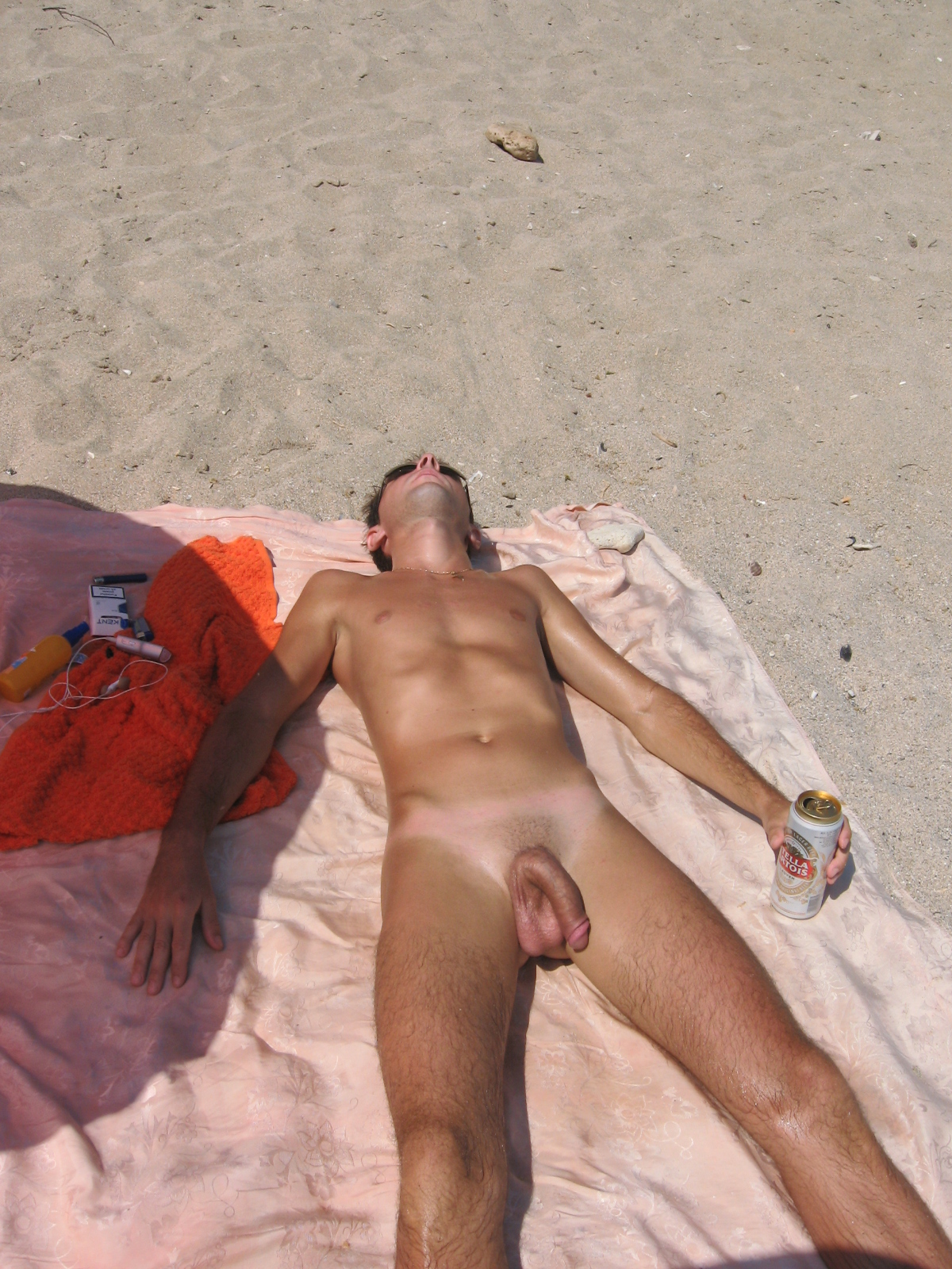 sun bath in beach nude