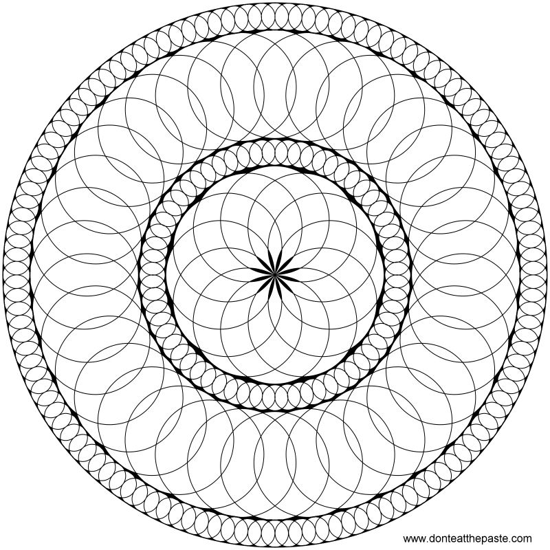 Circles mandala to print and color- also available in a larger transparent PNG version