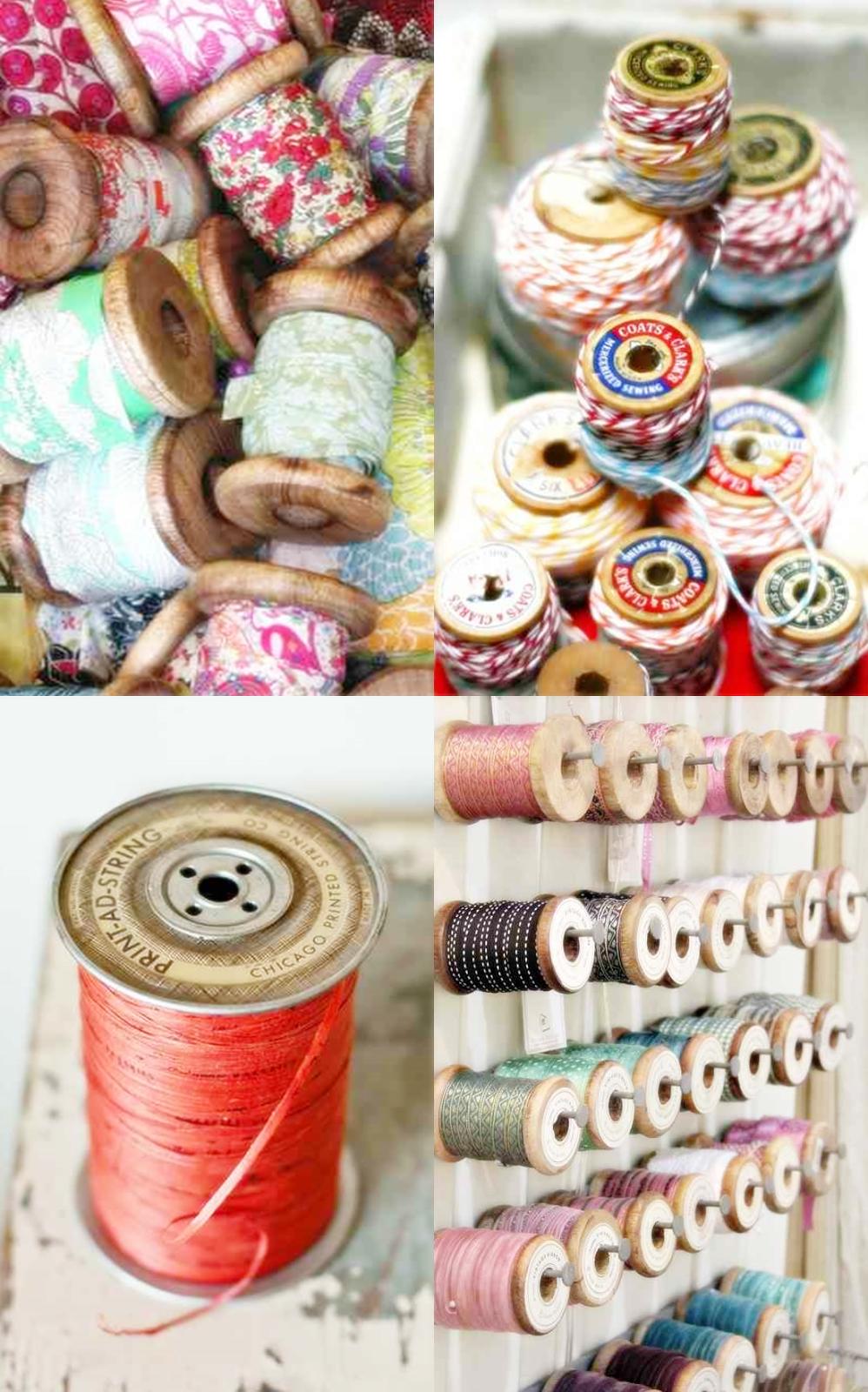 vintage spools, kolorowy sznurek na szpulkach, kolorowe tasiemki na drewnianych szpulach