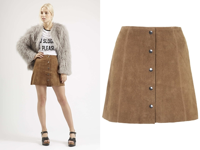 c.f H&M 2015 SS Button Front A-Line Skirt
