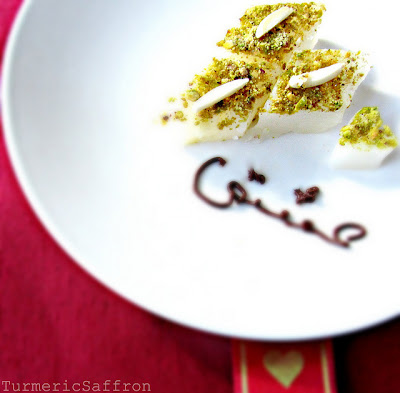... - Persian Rose Water, Cardamom Pudding with Almonds and Pistachios
