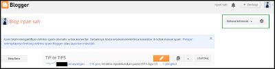 Setting bahasa tampilan untuk mendaftar google adsense