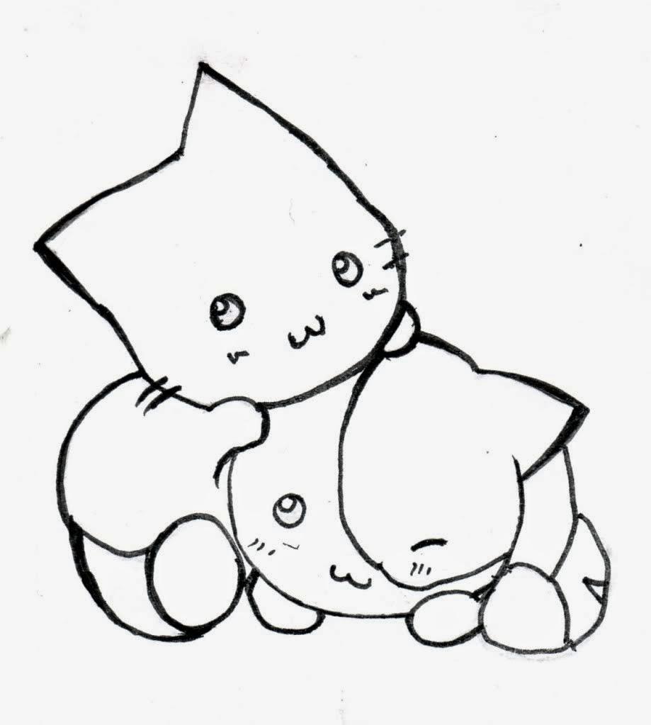 Dibujos de Gatitos lindos y bonitos para colorear ~ Dibujos para Niños