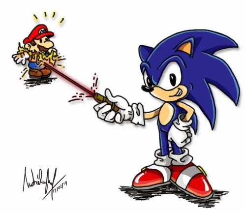 Desenho com os personagens Mario e Sonic, dos vídeo-games. Sonic está com uma caneta laser apontando no Mario e ele está pegando fogo !