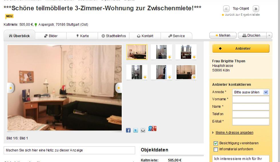 22 september 2012 for Wohnung zur zwischenmiete