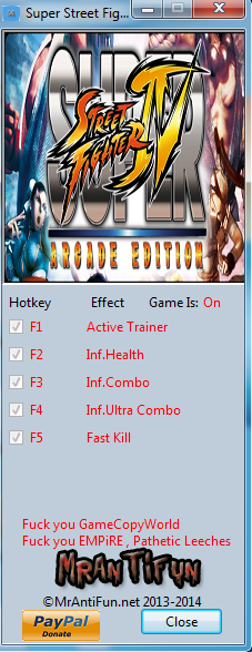 Super Street Fighter 4 Arcade Edition V2.00 Trainer +4 MrAntiFun