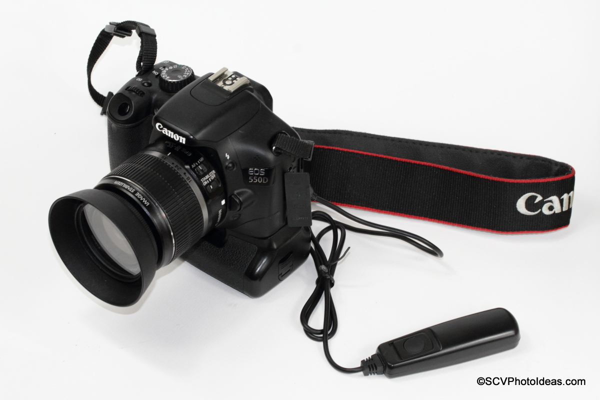 RS-60E3 compatible Remote Release Cable on Canon EOS 550D