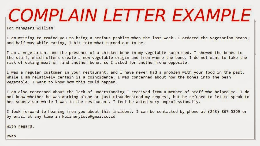 writing a letter of complaint template