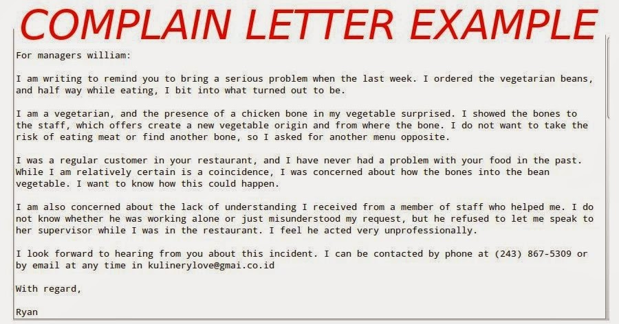 Complaint Letter Example  Samples Business Letters
