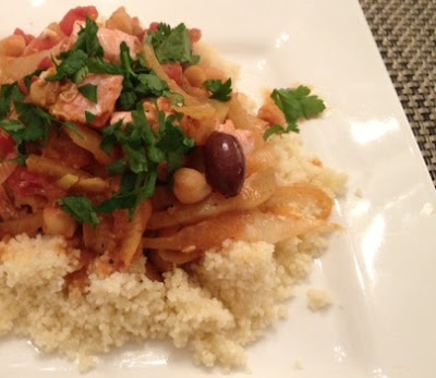 Moroccan Fish Garbanzos Tomatoes Couscous