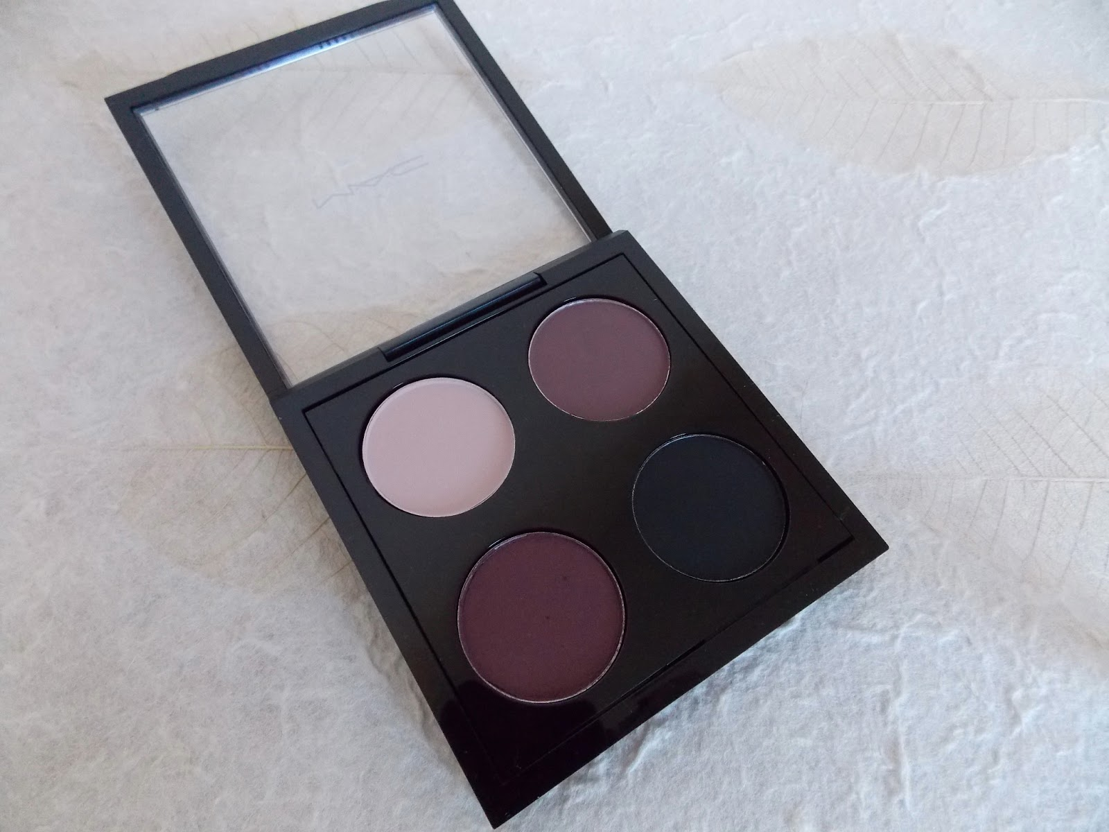 MAC Eye Shadows in Yogurt, Blackberry, Sketch and Carbon