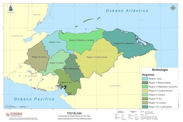 mapa regiones de honduras