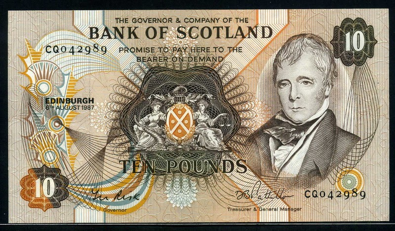Bank Of Scotland Currency 10 Pounds Banknote Sir Walter