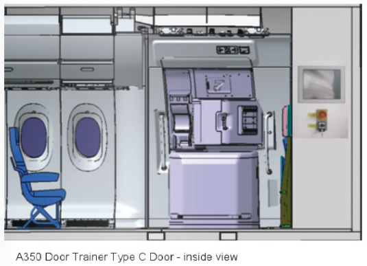 Based on the article \u201cA350 Door Trainer for China Airlines\u201d published in CAT Magazine. & A350 XWB News: A350 Door Trainer for China Airlines.