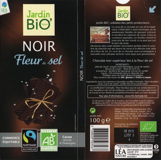 tablette de chocolat noir gourmand jardin bio noir fleur de sel