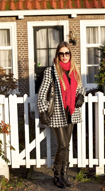 blogueira talita carvalho couro preto branco vermelho