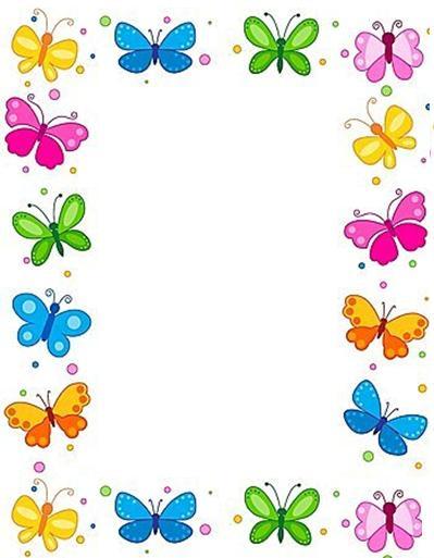 carátulas para decorar trabajos infantiles de niñas, carátulas de mariposas, bordes decorativos de mariposas, bordes para decorar