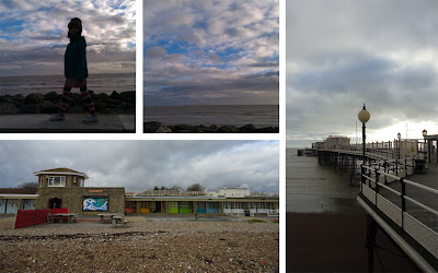 Worthing seaside, beach huts and pier 2013