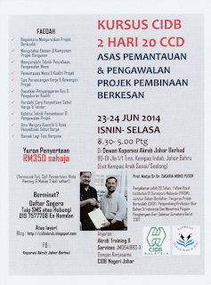 Kursus Sebelum Ramadan 2 Hari 20 CCD Asas Pemantauan & Pengawalan Projek Pembinaan Berkesan