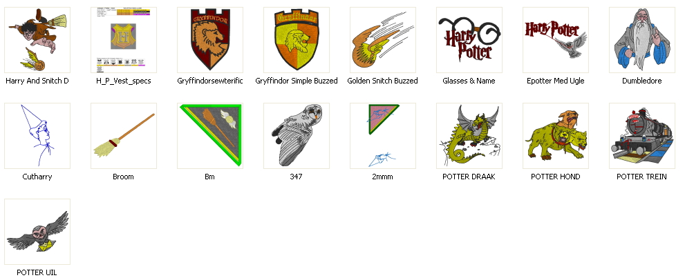 Free embroidery designs harry potter set