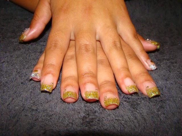 Clear-crystal-tips-acrylic-crystal-pink-fill-custom-silver-gold-glitter-mix-pinky-fingers-gold-mylar-hearts-Swarovski-citrine