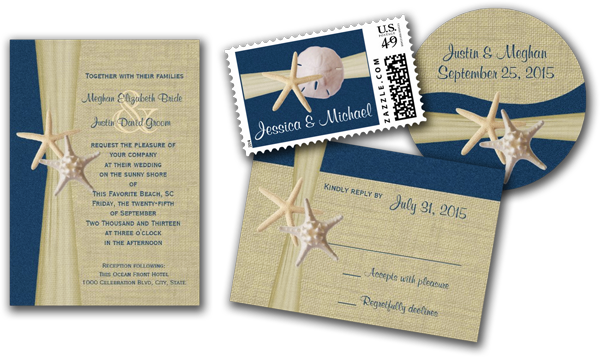 Navy Blue Burlap and Starfish Beach Wedding Invitations