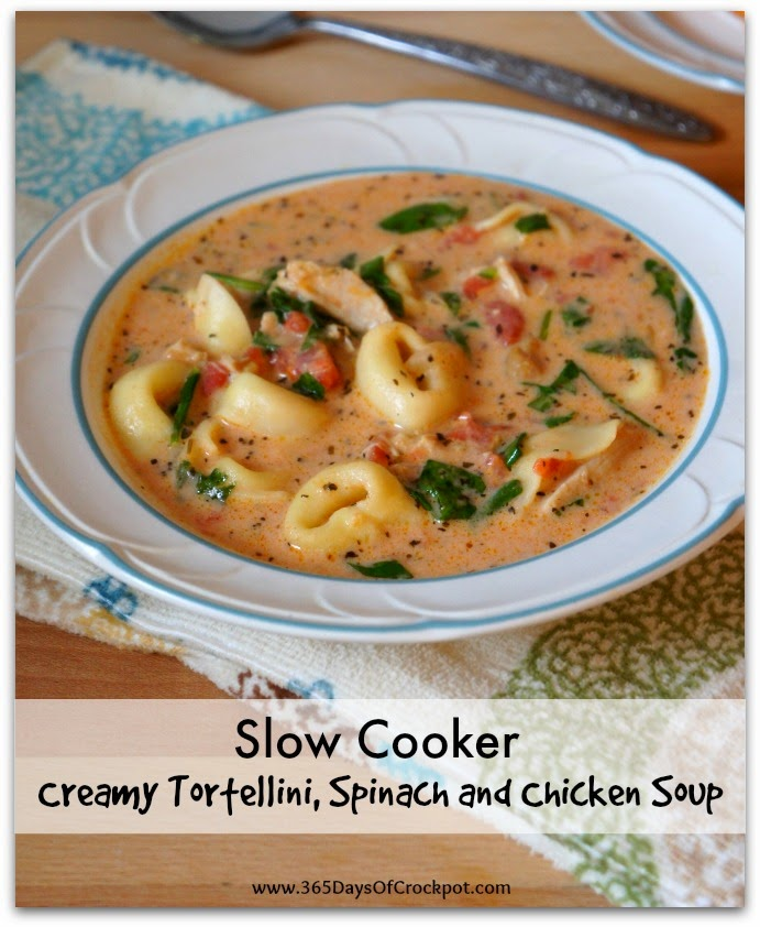 Slow Cooker Creamy Tortellini, Spinach and Chicken Soup.  This soup is made in the crockpot and is comfort in a bowl!
