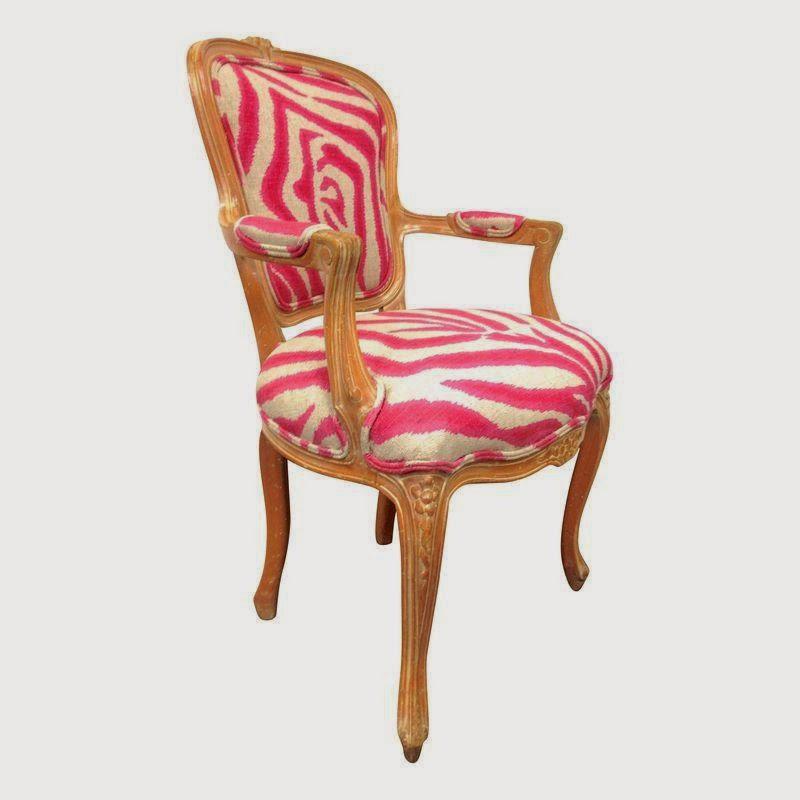 Pink Zebra Print Louis Chair