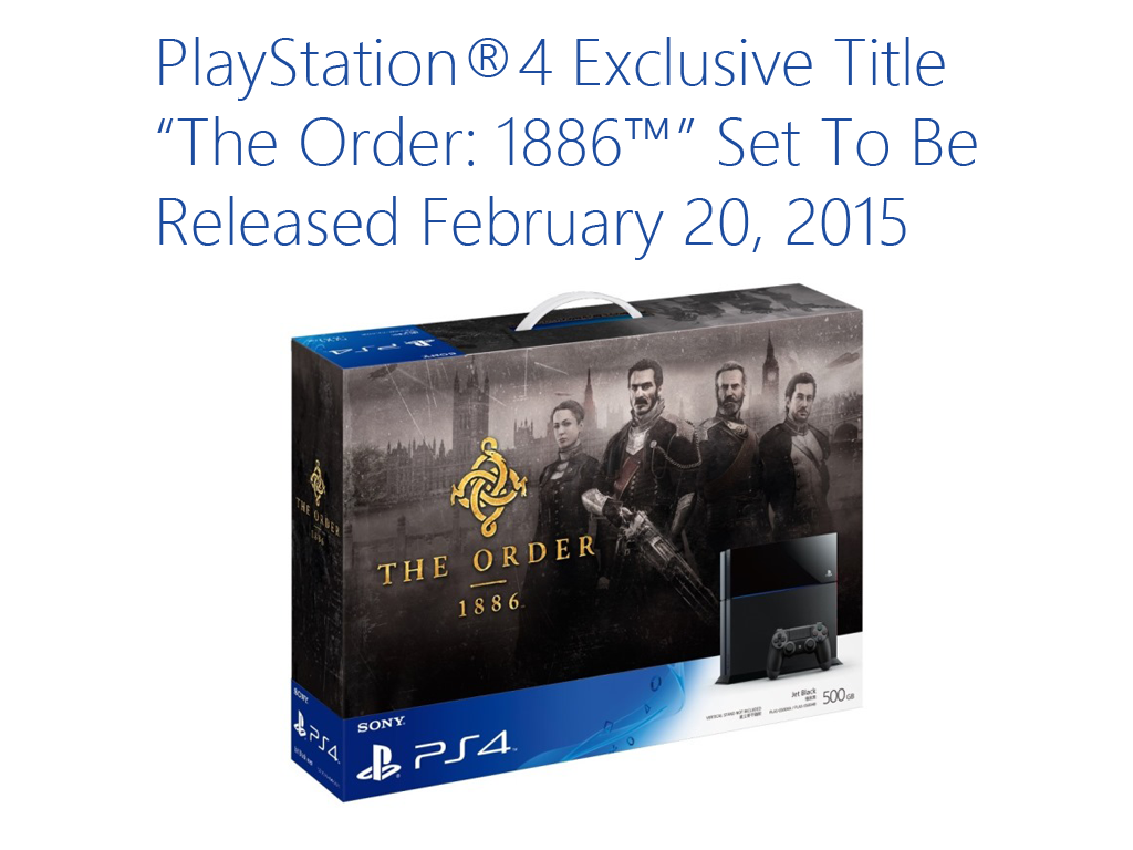 "PlayStation®4 Exclusive Title ""The Order: 1886™"" Set To Be Released in PH on February 20, 2015"