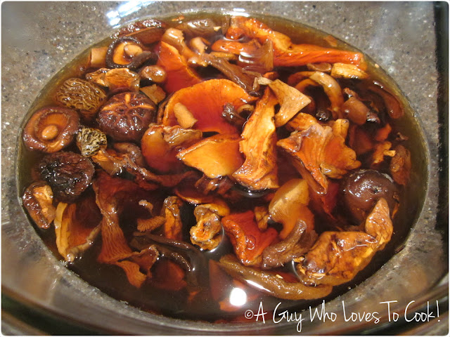Dehydrated Wild Mushrooms taking a bath in hot water