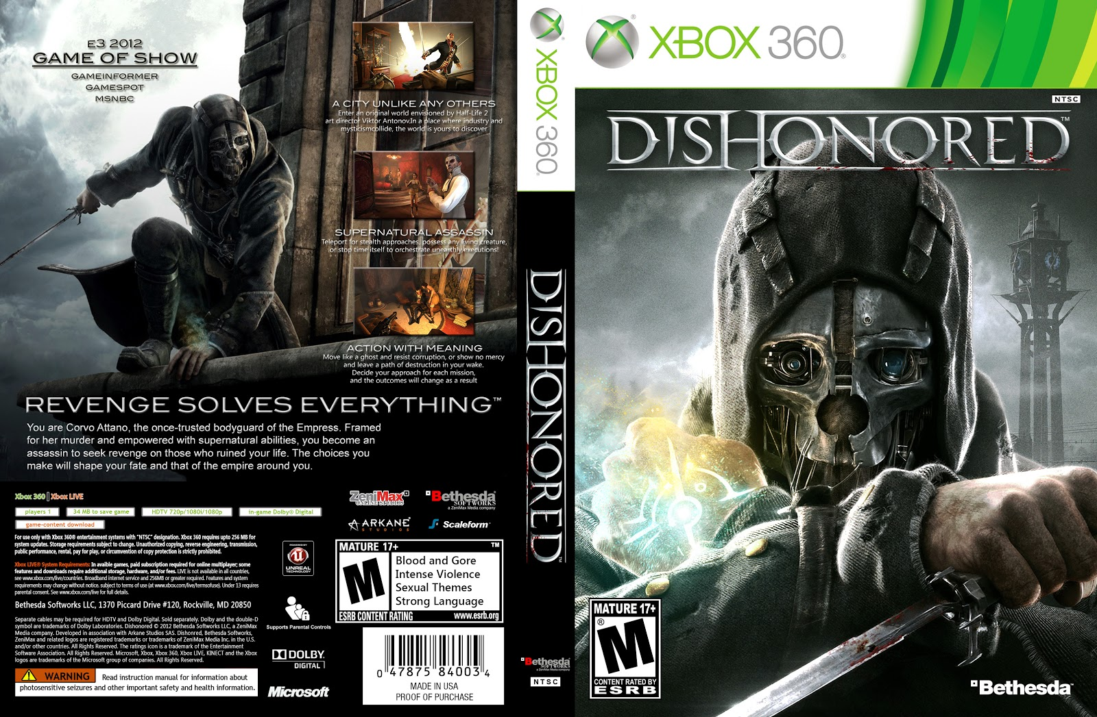 Games Covers: Dishonored - Xbox 360