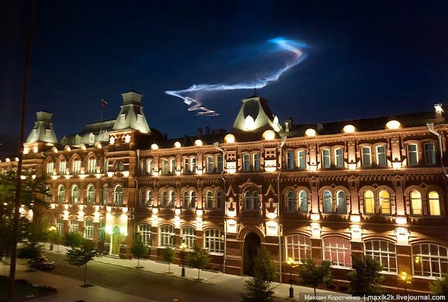 Ảnh chụp một vụ nổ mảnh thiên thạch trên bầu trời Astrakhan, miền nam nước Nga, ngày 7-6-2012