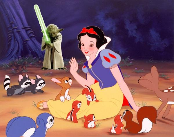 disney bought over lucasfilm, snow white and yoda
