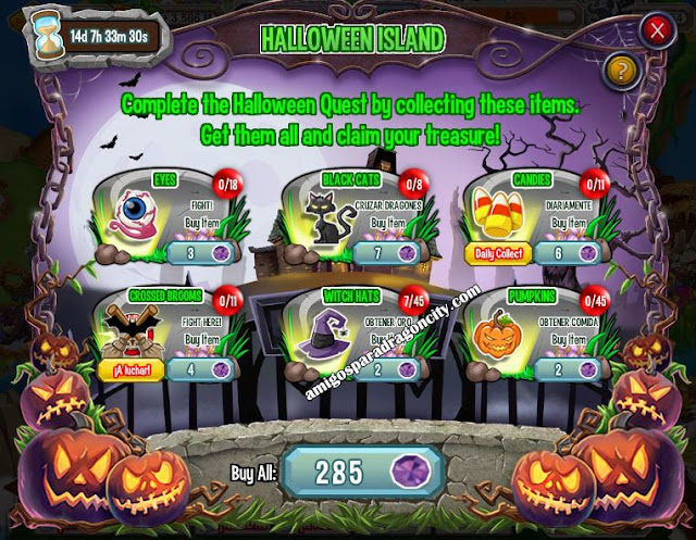 tareas de la isla de halloween de dragon city