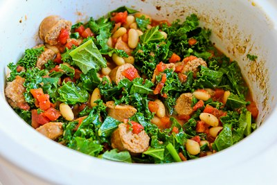 ... Slow Cooker Cannellini Bean Stew with Tomatoes, Italian Sausage, and
