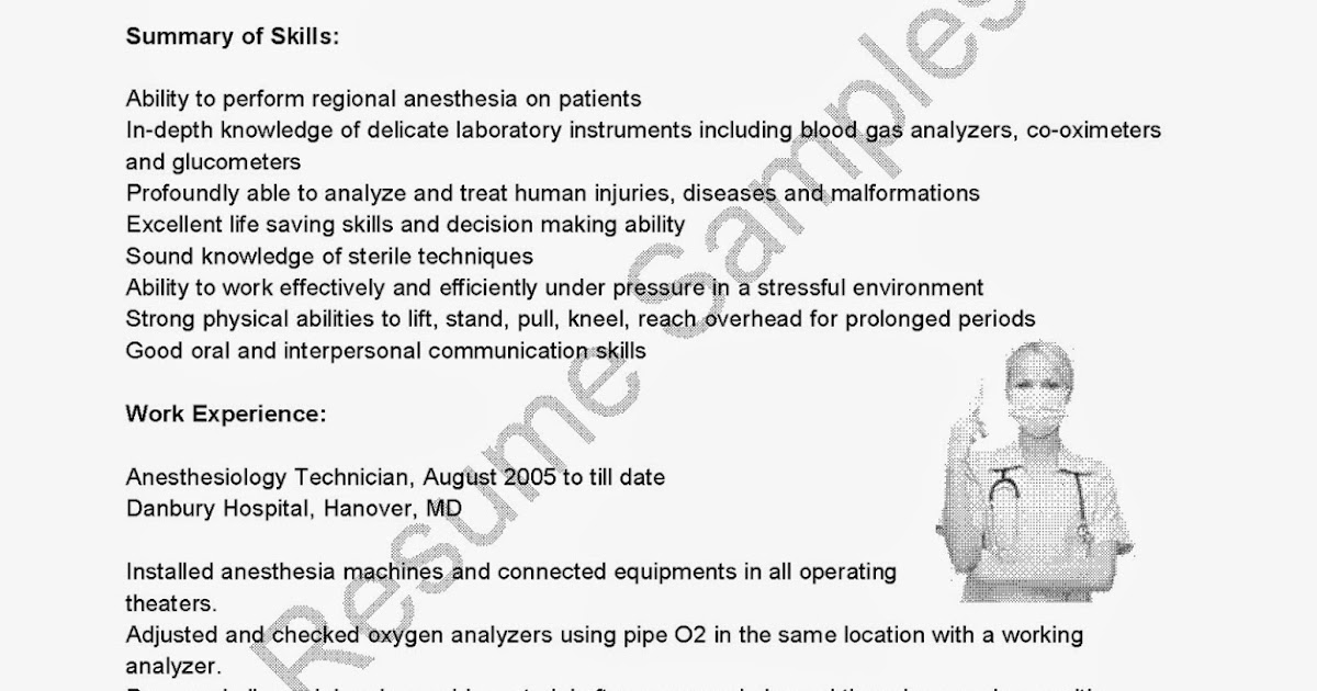 resume samples  anesthesiology technician resume sample