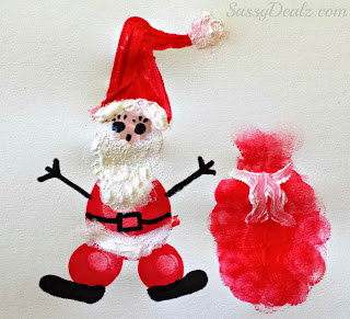 fingerprint christmas santa clause craft for kids