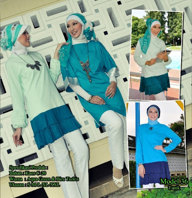 Katalog Busana Muslim Mazaya Aqua green Biru turkish